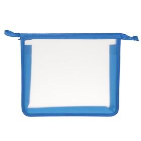 Папка, пластиковая, А5, молния сверху, «Оникс», ПТ- 750 (шк), «Офис», прозрачная, окантовка синяя