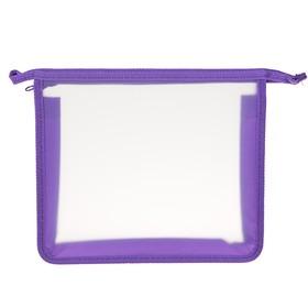 Папка, пластиковая, А5, молния сверху, «Оникс», ПТ- 750 (шк), «Офис», прозрачная, окантовка фиолетовая