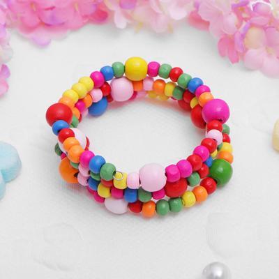 "Bracelet spring baby ""Vibracula"" beads, three rows, color"