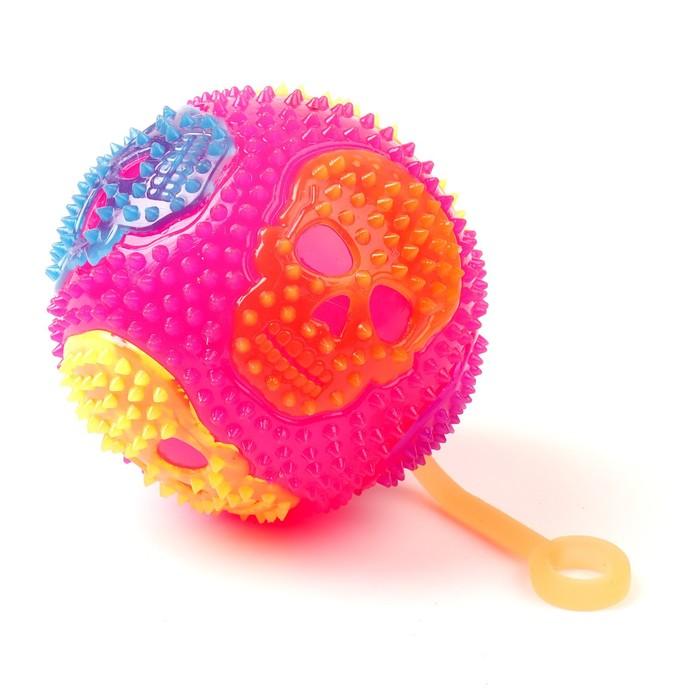Мяч световой «Череп», с пищалкой, цвета МИКС