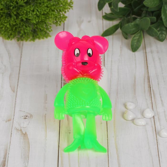 Ёжка световой «Мышка» с пищалкой, цвета МИКС