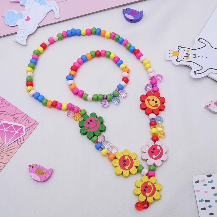 """Набор детский """"Выбражулька"""" 2 предмета: кулон, браслет, цветы ромашки веселые"""