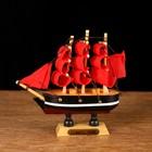 Корабль сувенирный малый «Марианна», борта с белой полосой, паруса алые, микс, 3×10×10 см - фото 979214