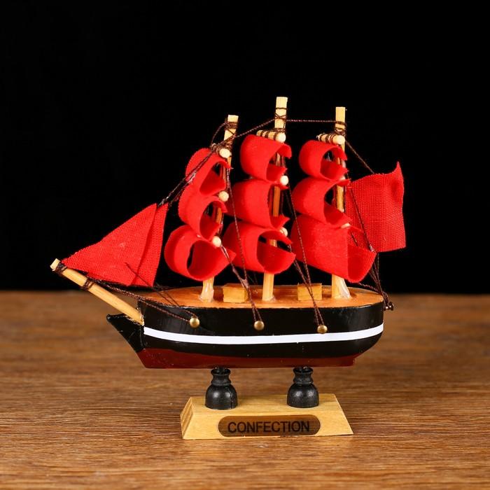 Корабль сувенирный малый «Трёхмачтовый», борта с белой полосой, паруса алые, микс, 3 × 10 × 10 см