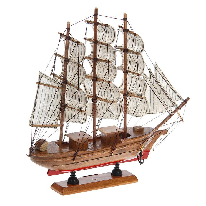 Корабль сувенирный средний «Трёхмачтовый», красное дно, паруса белые, микс, 33 х 7 х 32 см