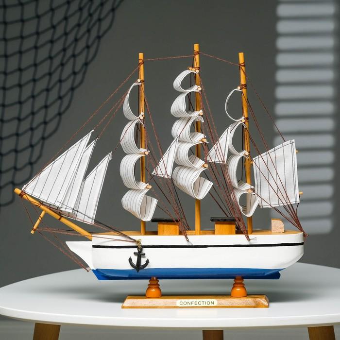 Корабль сувенирный средний «Трёхмачтовый», борта чёрные с белой полосой, дно красное, паруса белые, 40 х 6 х 33 см