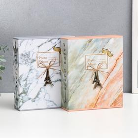 """Фотоальбом на 40 фото 10х15 см """"Мрамор и Эйфелева башня"""" в коробке МИКС 17х14х5 см"""