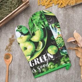 Варежка-прихватка GREEN 20х27см,100% х/л, ватин 250г/м2