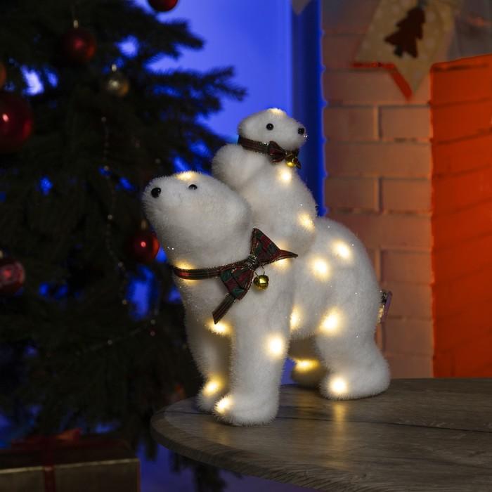 """Фигура световая """"Медведь и медвежонок"""", 28 LED, 26х12х27 см, фиксинг, от батар (не в компл)    43570"""