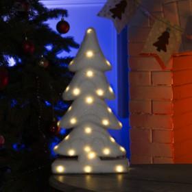 "Фигура световая ""Белая ёлочка"", 28 LED, 22х12х40 см, фиксинг, от батар. (не в компл)"