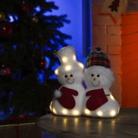 """Фигура световая """"Снеговички"""", 19 LED, 22х12х22 см, фиксинг, от батар. (не в компл)"""