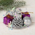 "Candle holder for one candle ""Tinsel wave"" cones, bead, gifts 7.5*3.5 cm"