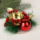 """Candle holder for one candle """"Red flowers"""" bead, bells 10*4 cm"""