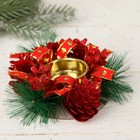 Candle holder for one candle Red ribbon, cones 10*4 cm
