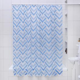Штора для ванной комнаты Доляна «Чешуя», 180×180 см, EVA, цвет синий