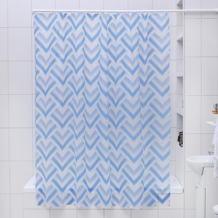 """Штора для ванной 180×180 см """"Чешуя"""", EVA, цвет синий"""