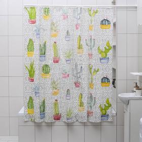 """Штора для ванной 180×180 см """"Кактусы"""", EVA"""