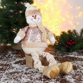 """Мягкая игрушка """"Снеговик в пайетках - длинные ножки"""" сидит 13*52 см"""