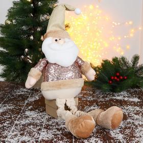 """Мягкая игрушка """"Дед Мороз в пайетках - длинные ножки"""" сидит 13*52 см"""