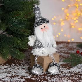 """Мягкая игрушка """"Дед Мороз - ножки из бусинок"""" 9*27 см серо-белый в Донецке"""