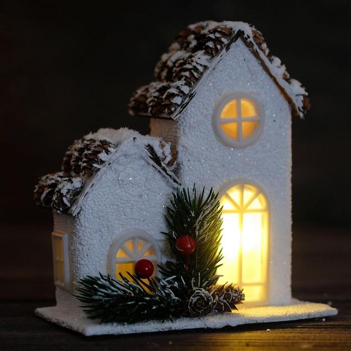 """Новогодний световой домик """"Счастье"""" 8×14,5×16 см"""