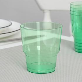 Стакан одноразовый «Кристалл», 200 мл, цвет зелёный, 50 шт/уп