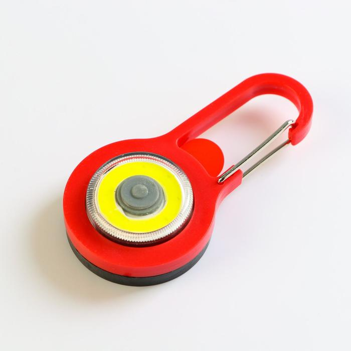 Фонарь-карабин, светодиодный, COB, 3вт, 7,5х1,5см(2 бат cr2032) микс - фото 7644471
