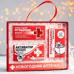 Новогодняя аптечка «Активатор»: чай чёрный 25 г., драже 100 г., пупырка
