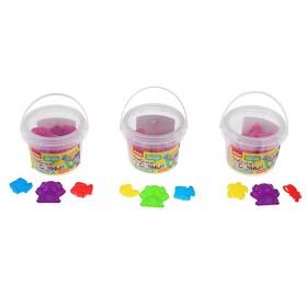 Пластилин песочный, кинетический 300 г, 3 формочки, цвет розовый