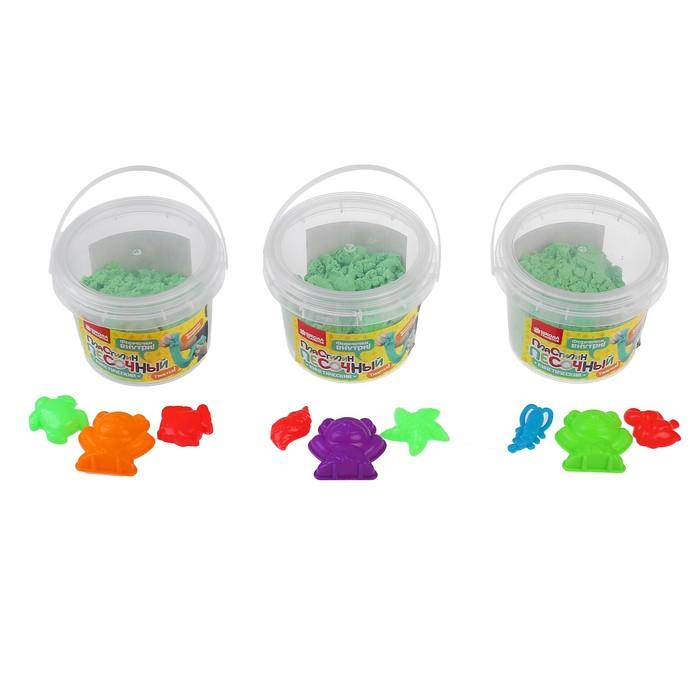 Пластилин песочный, кинетический 300 г, 3 формочки, цвет зелёный - фото 683915867