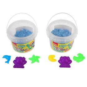 Пластилин песочный, кинетический 300 г, 3 формочки, цвет голубой