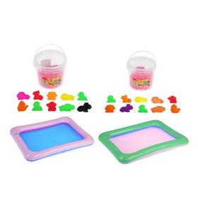 Пластилин песочный цвет розовый, кинетический 1000 г, 10 формочек, песочница цвет МИКС: 59 × 45 см