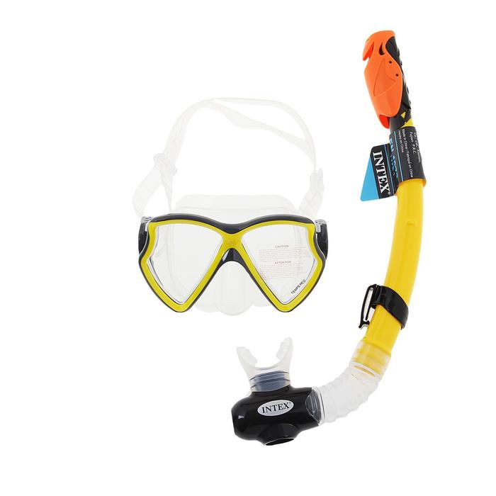 """Набор для подводного плавания PRO """"Авиатор"""", 2 предмета: маска, трубка с защитой от брызг, от 8 лет INTEX"""