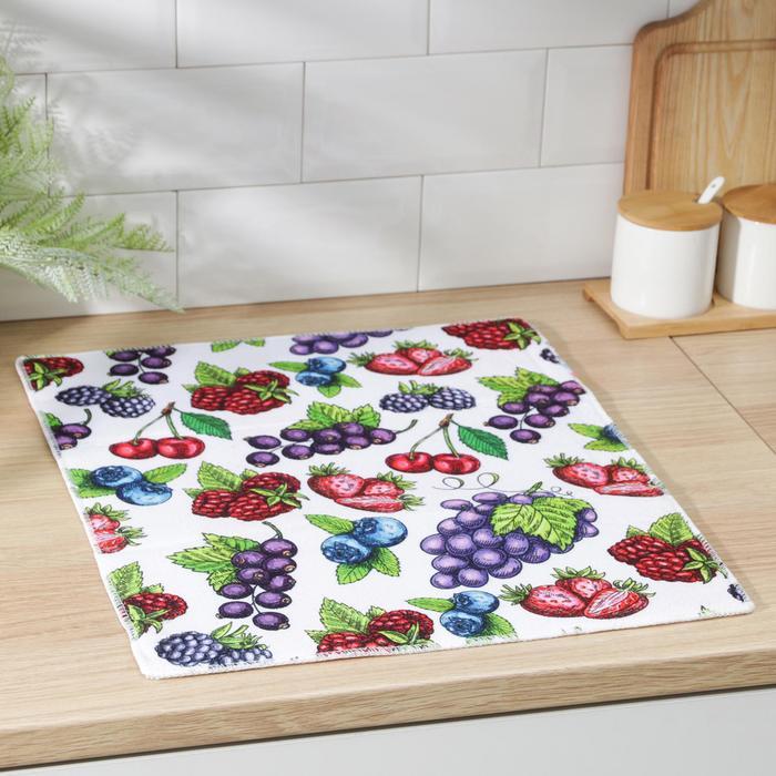 Салфетка для сушки посуды Доляна «Ягоды», 38×51 см, микрофибра