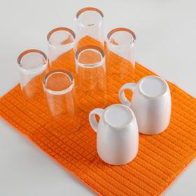 Коврик для сушки посуды 30×40 см, микрофибра, цвет оранжевый