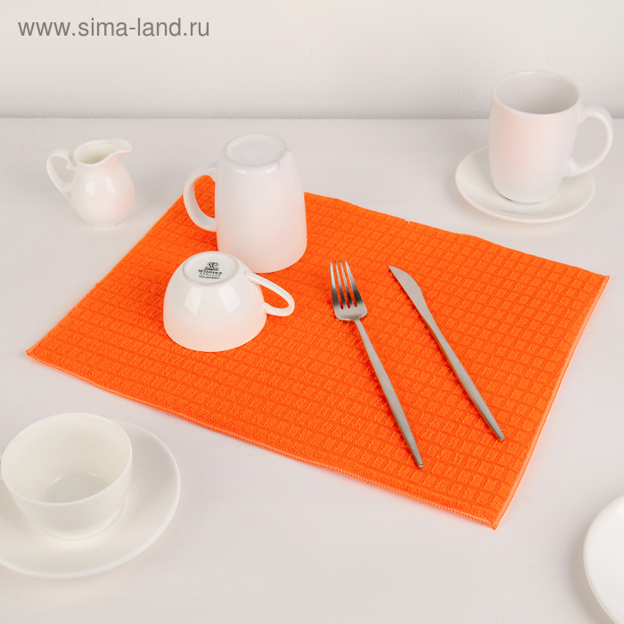 Mat for drying dishes 30×40 cm, microfiber cloth, color orange