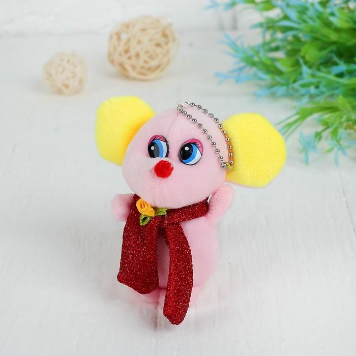 """Мягкая игрушка-подвеска """"Мышка в шарфе с цветком"""" цвет МИКС"""