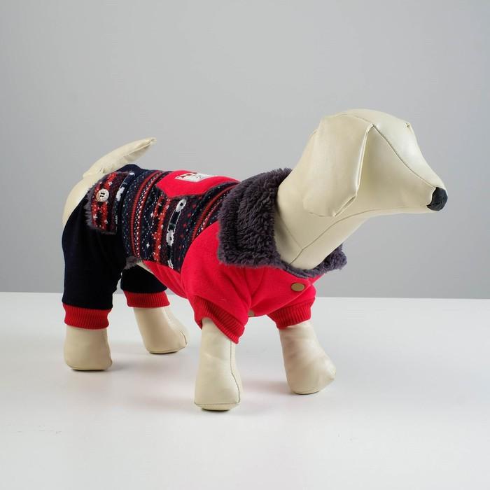Комбинезон для собак, еврозима на меховом подкладе, M (ОШ 26-30, ОГ 36-40, ДС 28 см), красный  43337