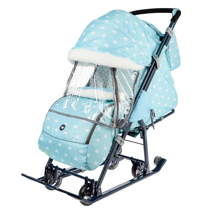 Санки коляска «Ника Детям НД 7-1Б», принт с облачками голубой
