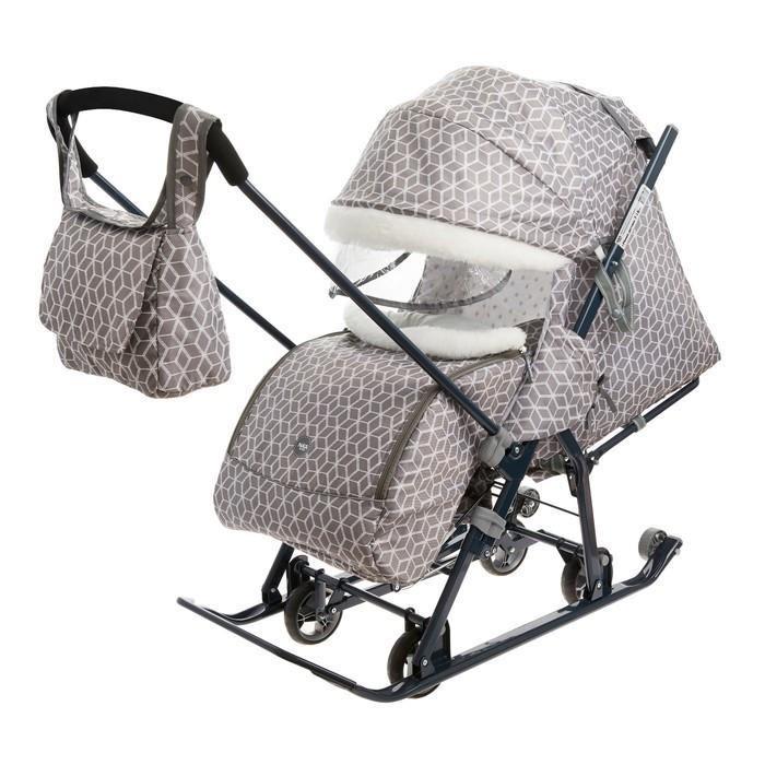 Санки коляска «Ника Детям НД 7-1Б», принт: с ромбиками серый