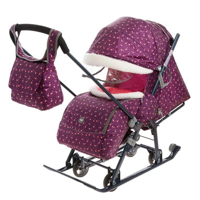 Санки коляска «Ника Детям НД 7-1Б», принт: с фламинго сливовый