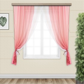 Set of curtains for the kitchen Lydia 250x160 cm, lingonberries, 100% polyester