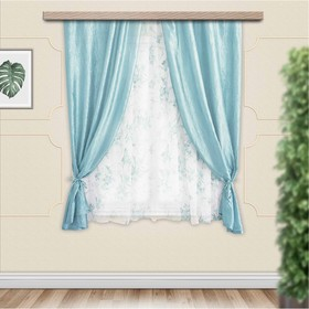 Комплект штор для кухни Романтика 285х160 см, голубой, полиэстер 100%