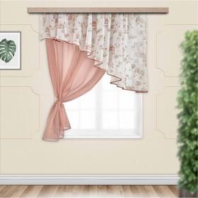Комплект штор для кухни Византия 280х160 см, левая, какао, полиэстер 100%