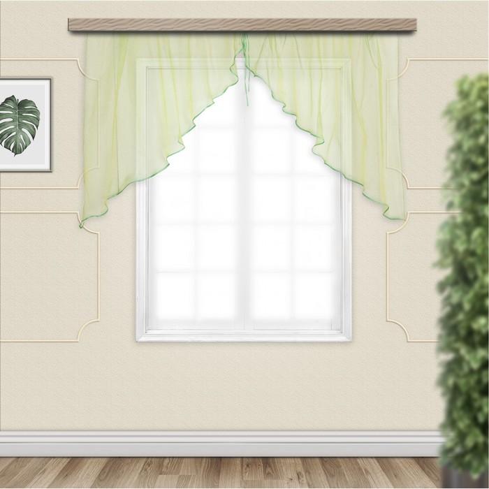 Комплект штор для кухни Дуо 300х120 см, хамелеон желто-зеленый, полиэстер 100%