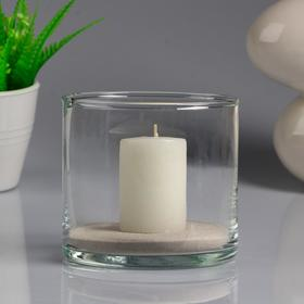 "Ваза-цилиндр ""Труба"" с белой свечой, 10,7×10 см, 9 ч, стекло"