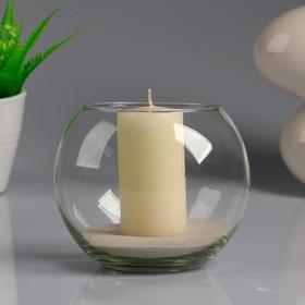 Ваза-шар стеклянная 'Классика' с белой свечой, 12×10 см Ош