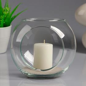 Ваза-шар стеклянная 'МАТЕ' с двумя отверстиями и белой свечой, 14,5×13 см Ош