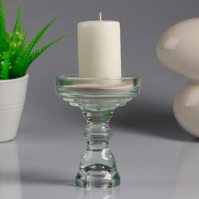 Подсвечник стеклянный 'Кристофф', малый, с белой свечой, 8,5×11 см Ош
