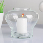 """Подсвечник стеклянный """"Пульсар"""" с отверстием, с белой свечой, 13,5×11,3 см"""